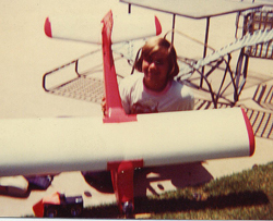 Who is THIS guy and how did he ever get to be 47 years old? :: Yours truly holding his first radio controlled model airplane, the Lanier Cessna, circa 1975. Model airplane historians will note the MRC 5 channel radio on the old 'Orange and White' frequency, 72.400 mHz. Fox .25RC power. A lifetime of thanks to my first R/C flying instructor, Colby Evett at Evett's Model Shop in Santa Monica, CA.